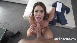 Ani Black Fox – Brunette Gets Her Mouth Loaded